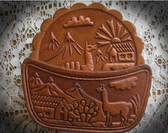 30% Off Clearance Sale Leather Coasters Hand Tooled  Peru-Set of 6-Camel
