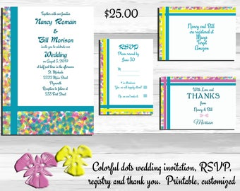 Colorful wedding invitations,Printable wedding invitation suite, rsvp and thank you, dotted invitations, gift registry, printable invitation