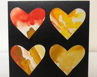 Four Hearts Red Orange and Yellow