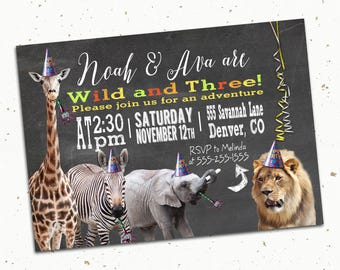 Zoo Animal Party Printed Invitation with Envelopes -- 5x7""
