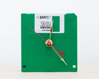 Unique Desk clock - green recycled floppy disk clock, ready to ship c8191