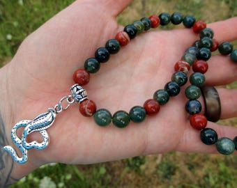 Gemstone Choker / Cobra Necklace with Moss Agate and Red Jasper / Beaded Choker / Crystal Necklace