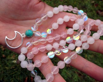 Moonlight Necklace with Rose Quartz, Snow Quartz, & White Rainbow Quartz / growth, intention, goddess / 72 Mala / Pagan Prayer Beads