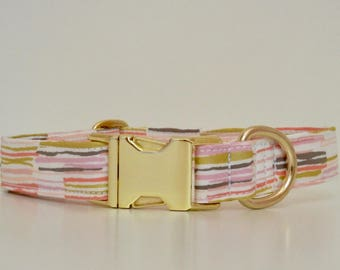 Pink and Gold Metallic Dog Collar Wedding Accessories Made to Order