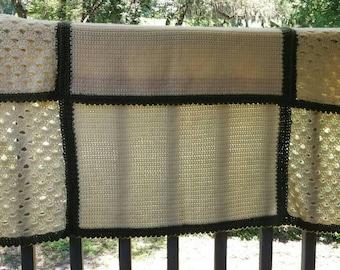Hand Crochet Neutral Afghan Throw