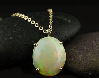ON SALE Vibrant Australian Opal Necklace - Oval Opal Necklace - 14Kt Yellow Gold