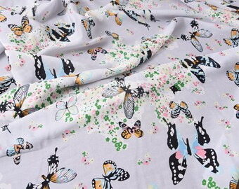 """Crepe de Chine silk, butterflies and flowers,  45""""  14m/m, beautiful summer silk fabric for dresses, shirts, blouse, tops, by the yard"""
