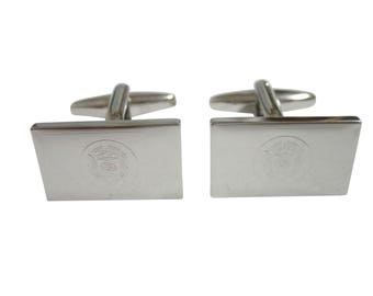 Silver Toned Etched Utah State Flag Cufflinks