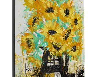 Yellow Sunflowers Abstract Art   Still Life Floral Canvas Wall Art   Flowers In Vase   Original Handmade Acrylic Painting by Russian Artist