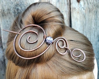 Hair Barrette Swirly design Copper Hair Slide Hair Pin Stick Hand Forged Wire Wrapped Jewelry Wire Work Handmade Womens gift for her bun pin