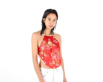 90s Chinese / Cheongsam Embroidered Blossom Red Satin Oriental Halter Neck Backless Tie Up Crop Top