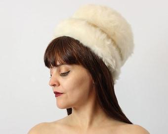 vintage 60s SCHIAPARELLLI hat / 1960s mod white angora fur hat / bubble hat / high bucket hat / winter hat / mod wedding hat