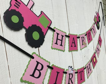 Tractor Banner/ Pink Tractor Birthday Banner/Green Tractor/Farm Birthday Banner/ Customized in any Color Combination/ Farm Party Theme