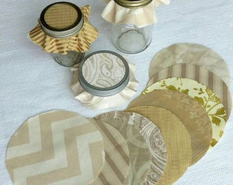 Dozen Golden Champagne Mixed Set Jar Toppers, Fabric Circles for Canning, Gift in a Jar, YoYo, FREE Shipping