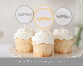 Set of 12 Mustache Cupcake Toppers, Little Man Baby Shower - Choose Colors