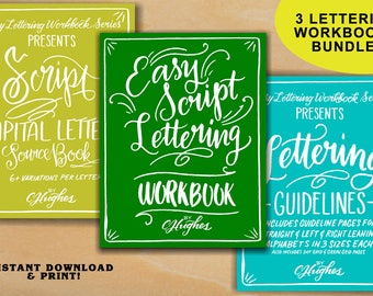 Easy Script Lettering Practice Sheets Three Pack Bundle - Script Lettering Worksheets, Script Capitals & Lettering Guidelines - learn letter