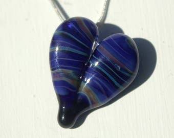 Blue Heart Necklace Glass, Blown Boro Pendant, Lampwork Focal Bead Twists of Blue Heart