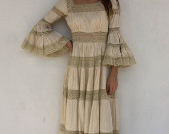 Beautiful 1970s boho lace maxi dress