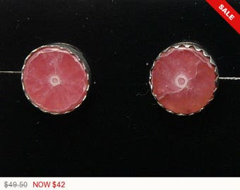 Rare Pink Rhodochrosite Stalactite stud earrings, 8.5mm round, natural, Designsbyshirl, sterling silver, delivered in gift box (J112961)