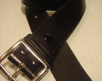 Vintage 1990s Black Leather Belt with Square Silver tone Buckle