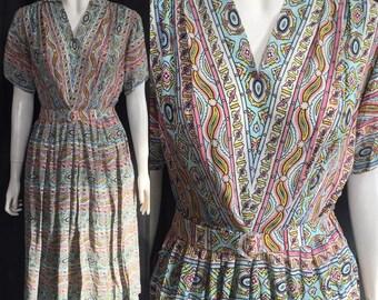 Colourful 1940s rayon dress