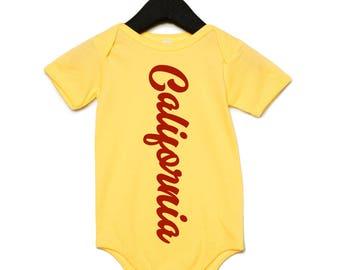 California baby onesie, yellow red onesie, west coast baby boy girl, trendy onesies, hipster baby, urban baby shirt, cali shirt, shower gift
