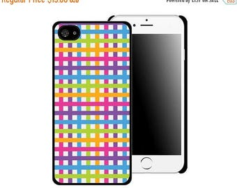 ON SALE NOW Neon Rainbow Plaid Printed Cell Phone Case / iphone 5/5s / iphone 6/6s and 6+ / Gift Idea / Gift for her / Teen Tween