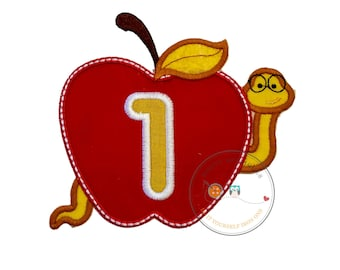 Teacher red apple with bookworm and number one iron on applique, Embroidered back to school no sew patch, Large first grade red apple patch