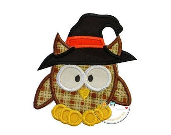 ON SALE NOW Large halloween brown plaid owl with witch hat - iron embroidered fabric applique patch embellishment- ready to ship
