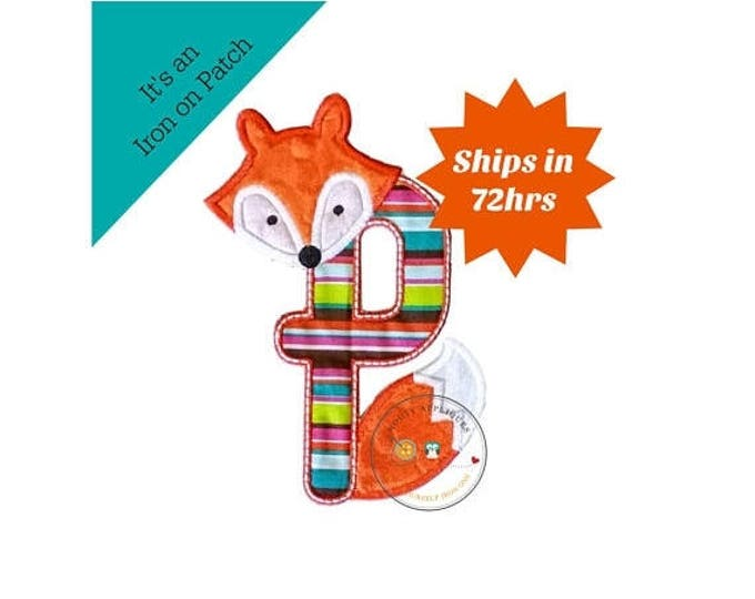 ON SALE NOW Woodland fox letter P machine embroidered iron on no sew patch, fox embroidered monogram letter p, ready to ship