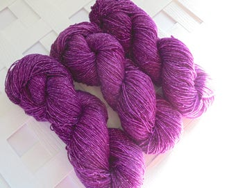 Indie-Dyed Yarn, BOYSENBERRY Sock Yarn, Merino Yarn, MagentaYarn, Tonal Yarn, Sock Yarn Knit, Gift for Knitter, Superwash Merino Yarn, Knit