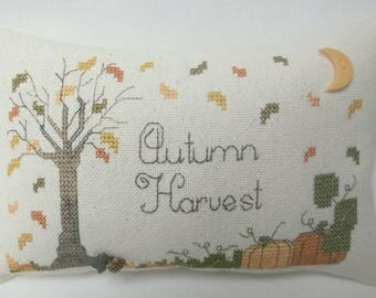 Autumn Harvest Cross Stitch Mini Pillow Fall Shelf Pillow
