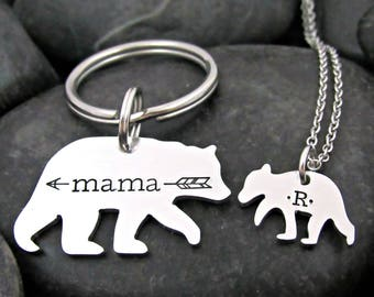 Mommy Keychain - Mama Bear - Baby Bear - Mommy Daughter - Mother's Day - Gift for Mom - Keychain and Necklace Set - Personalized - Stamped