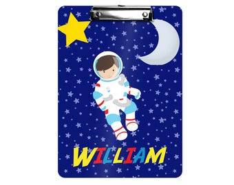 Astronaut Personalized Kids Clipboard - Astronaut Night Sky Moon Star, Single Sided or Double Sided Custom Clipboard Back to School