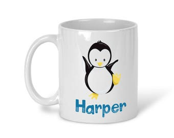 Kids Personalized Ceramic Mug - Arctic Animal with Name, Child Personalized Mug, Colored Rim and Handle, Color Heat Reactive