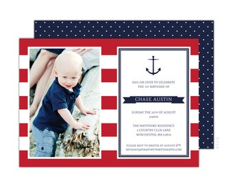Nautical Photo Invitation (Red Anchor Party, Nautical Birthday, Nautical Invitation, Boys Preppy Nautical Party, 1st Birthday Invitation)