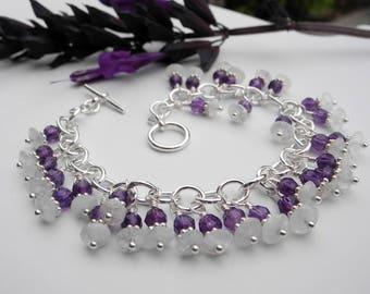 Rainbow Moonstone Bracelet, Amethyst Beaded Bracelet, Sterling Silver Link Bracelet, Mystical Moon Designs, Blue Flash, AA Quality Moonstone