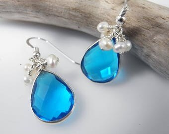 Mystic Blue, Quartz Crystal Earrings, Bridal Earrings, Quartz Dangle Earrings, Blue Crystal Earrings, Pearl Dangles, Freshwater Pearls