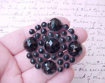 Beautiful Black Glass Victorian Bead Jewelry Finding
