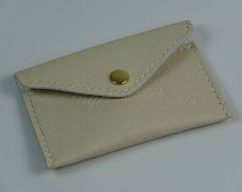 Women's Leather Card Holder - Men's Leather Card Holder - Sandy - Off-White - Hand Sewn