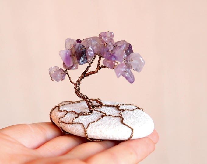 Wire tree sculture with Amethyst in natural beach stone