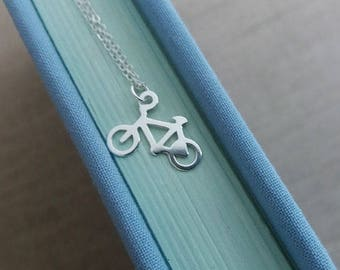 Sterling Silver Bicycle Necklace. Bicycle Pendant. Sterling Silver Necklace. Sport Necklace. Fitness Necklace