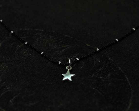 Star Choker. Tiny Sterling Silver Star Necklace. Black Ox Sterling Chain. Mixed Metals. N2522