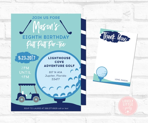 Putt Putt Birthday Invitation, BOY Putt Putt, Boy Golf Birthday, Golf Birthday Invitation Kit - Invite AND Thank You Card included
