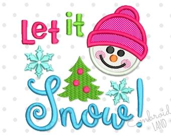 Let It Snow! Snowman Christmas Applique Machine Embroidery Design CHR062
