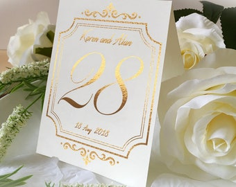 Custom Name Of Wedding Table No. Signs, Golden Print Numbers Double Sided Table Cards, Tented Table Decor, Vintage Style