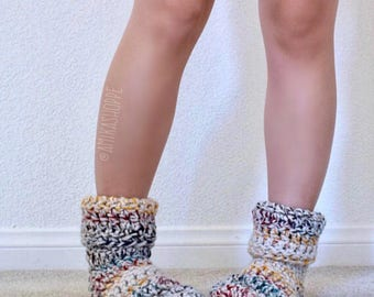CUSTOM -- Cozy Reading Socks - FREE SHIPPING - mixed color striped women's sock - crocheted socks - slippers - handmade house slippers