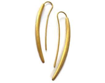 Gold Stick Earrings Slender Long Gold Earrings, 18K Vermeil , Artisan Handmade