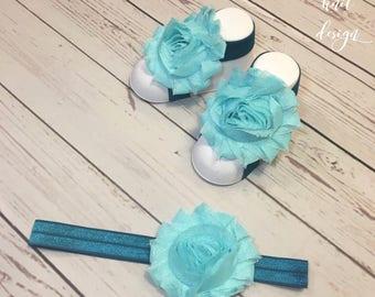 Barefoot Sandals And Matching Headband With Shabby Chic Chiffon Flower - NEWBORN