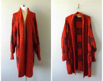 red black check boucle cardigan sweater - vintage 80s oversize chunky knit long duster coat - size l/large - hipster grunge jacket - 1980s